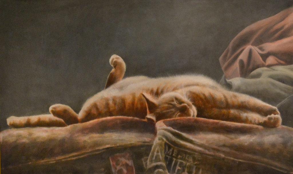 Schilderij Pluisje, Painting Fluffy by Jolien Westerbroek-Hornbeck ©2018