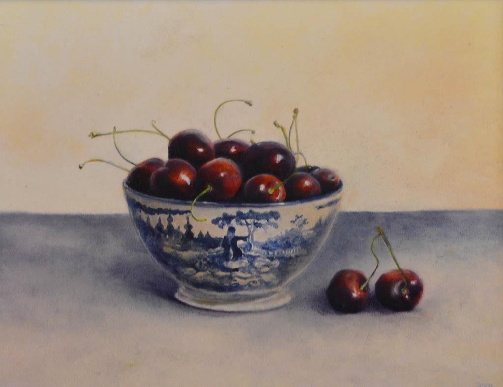 Cherries in Chinese bowl