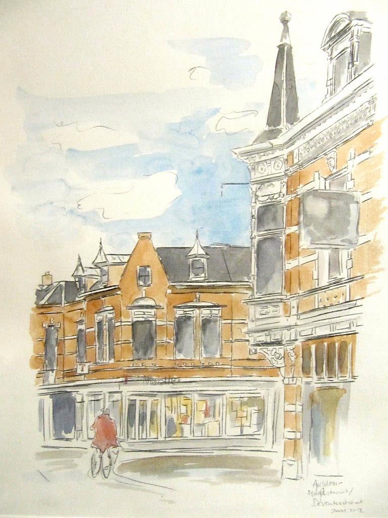 Apeldoorn na sluitingstijd • illustrate • aquarel en potlood • gemaakt door JWH