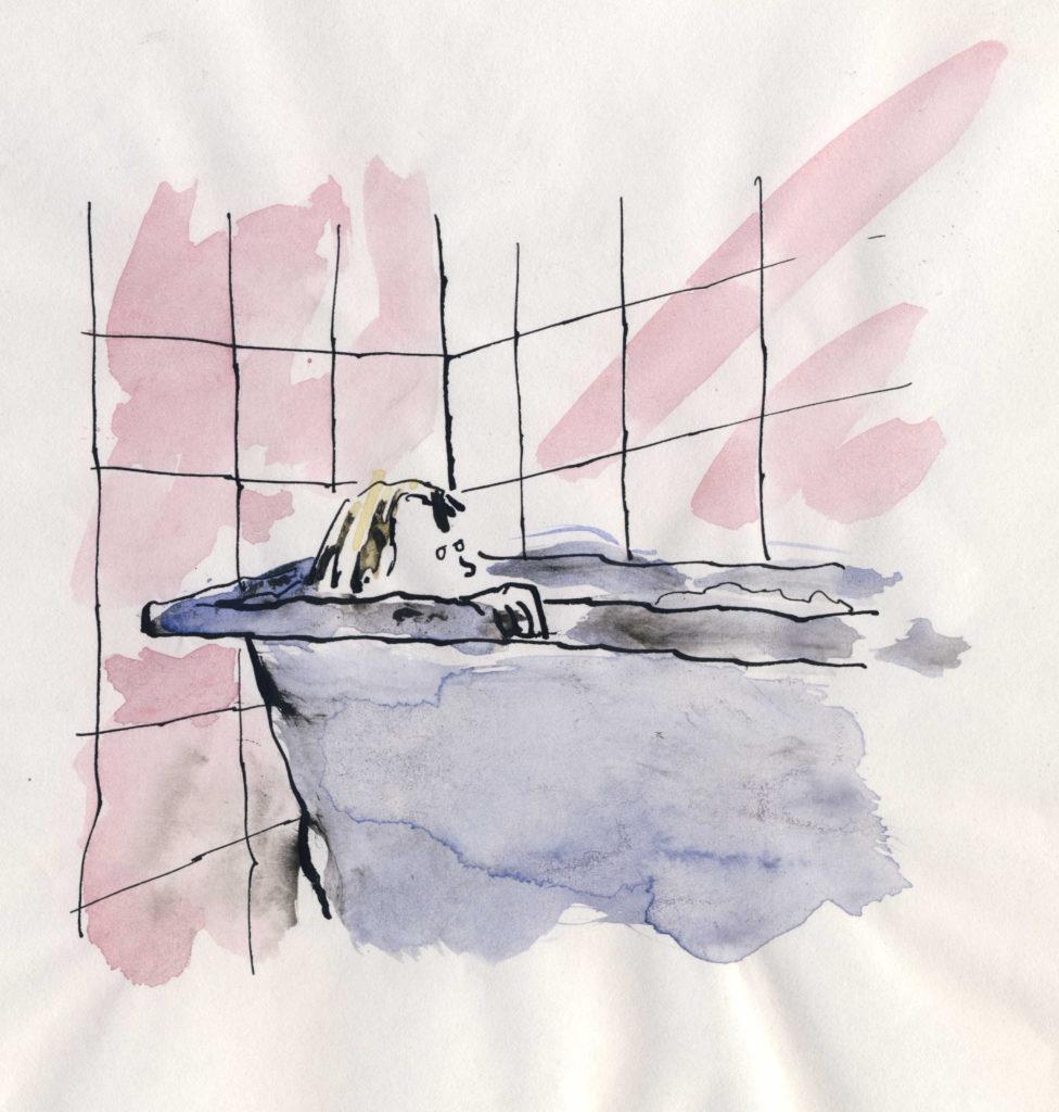 In bad • illustratie • aquarel en inkt • gemaakt door JWH