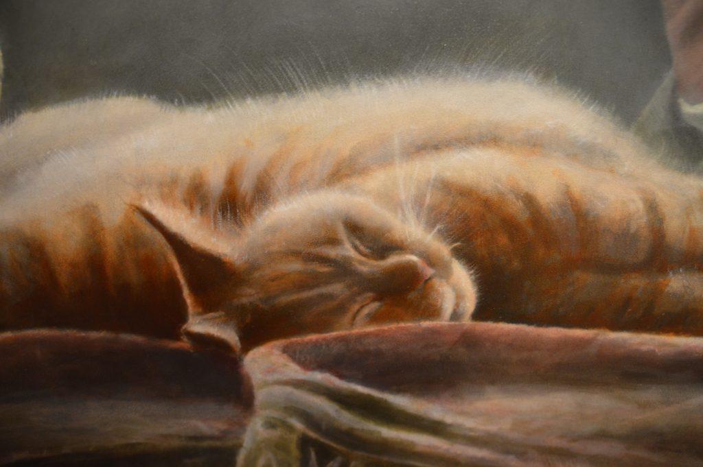 portret van poes Pluis in olieverf door JWH