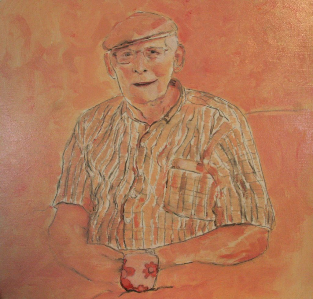 Portret in acryl, geschilderd door JWH
