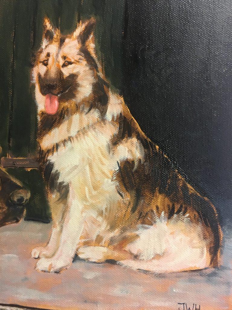 Portret van hond Russel in olieverf geschilderd door JWH