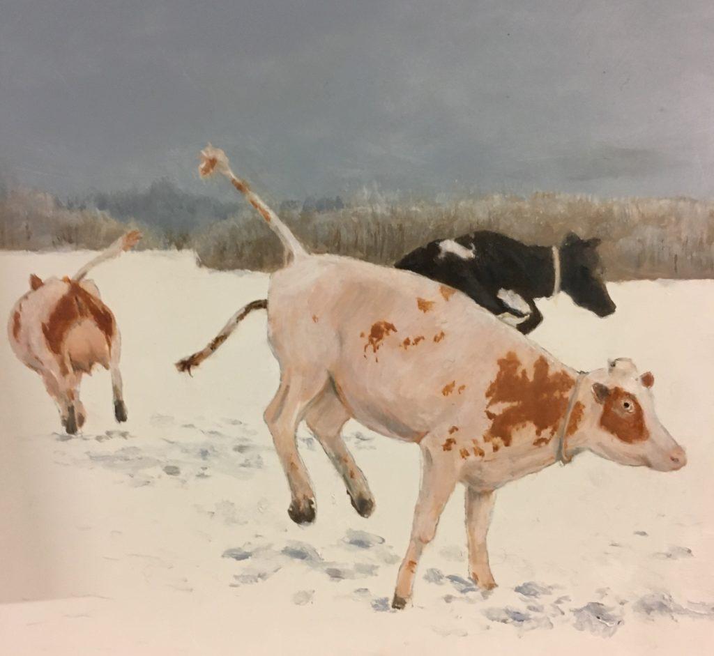 Drie gratiën dansende koeien in de sneeuw in olieverf geschilderd door JWH