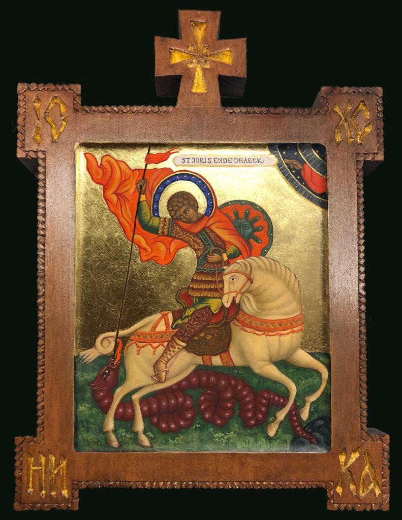 Ikoon • St. Joris en de draak • ei-tempera en bladgoud op hout • gemaakt door JWH