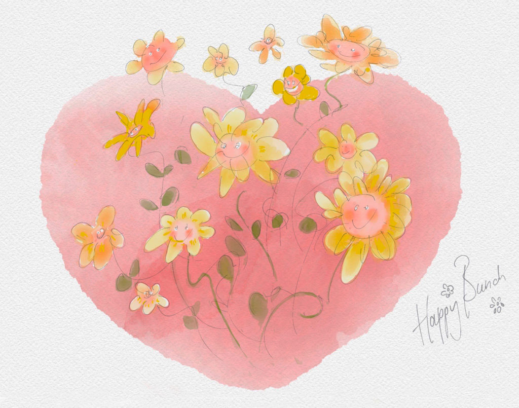 Happy Bunch • bloemen met hart in aquarel • digitale techniek • gemaakt door JWH