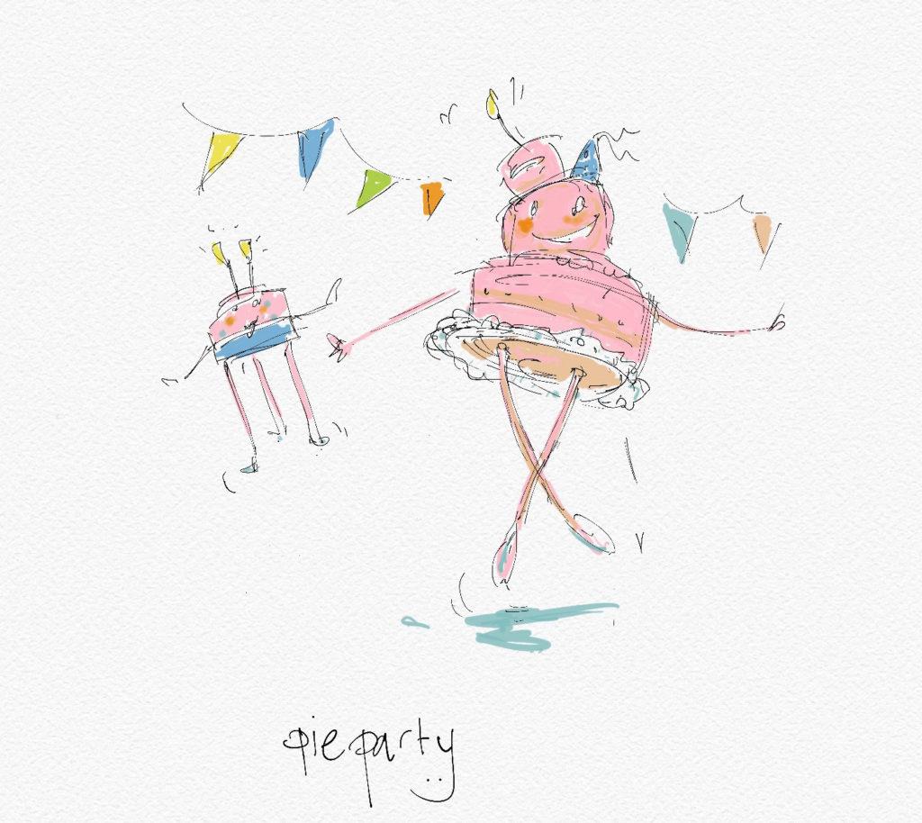 Pie Party • Dansende taarten op een feestje • illustratie in aquarel • digitale techniek • gemaakt door JWH