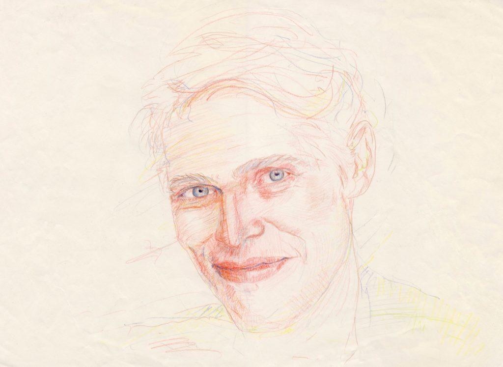Portret acteur Willem Dafoe • kleurpotlood op papier door JWH